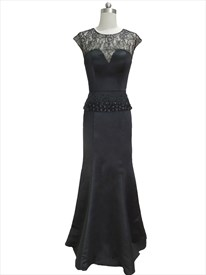 Black Lace Illusion Mermaid Peplum Beaded Prom Dress With Cap Sleeves