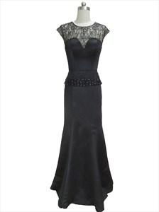 Black Lace Illusion Mermaid Peplum Beaded Prom Dress With Cap Sleeves
