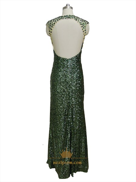 Dark Green Illusion Sequin Bodice Mermaid Long Prom Dress With Open Back