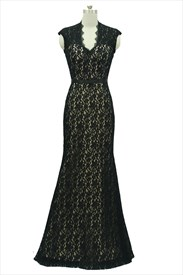 Black Lace Overlay Illusion Neckline Mermaid Prom Dresses With Open Back