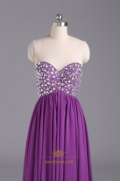 Violet Chiffon Strapless Sweetheart Beaded Bodice Ruffle Prom Dress