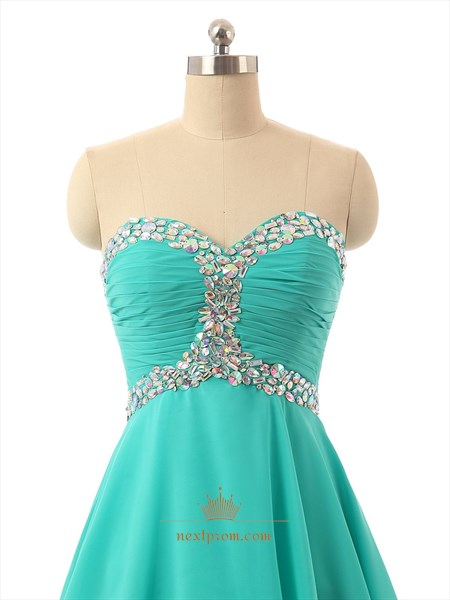 Mint Green Strapless Chiffon Beaded Embellished Short Bridesmaid Dress