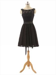 Black Lace Overlay Sheer Illusion Neckline Knee Length Dress With Sash