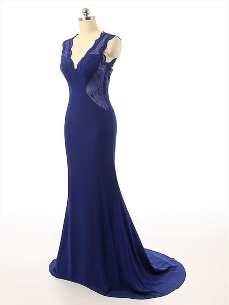 Royal Blue Sleeveless Illusion Bodice V-neck Open Back Prom Dress