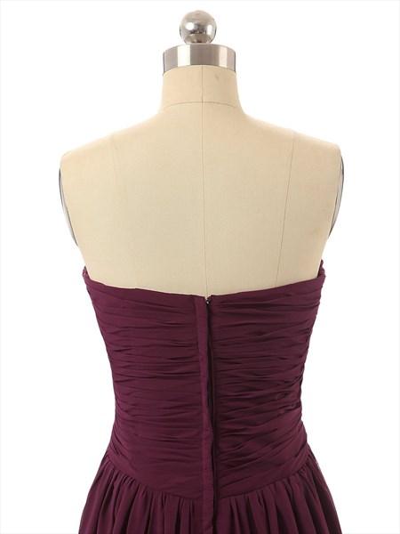 Burgundy Sweetheart Chiffon Bridesmaid Dress With Criss-cross Bodice