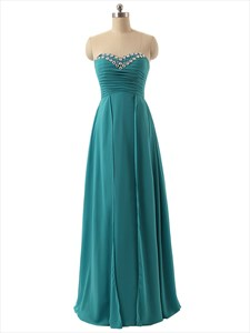 Teal Strapless Long Sheer Chiffon Ruffle Dress With Beaded Neckline