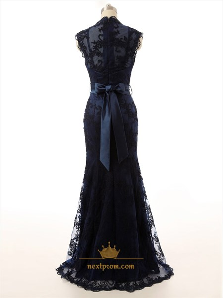 Ornate Navy Blue Lace Overlay V-Neck Sweep/brush Train Prom Dresses