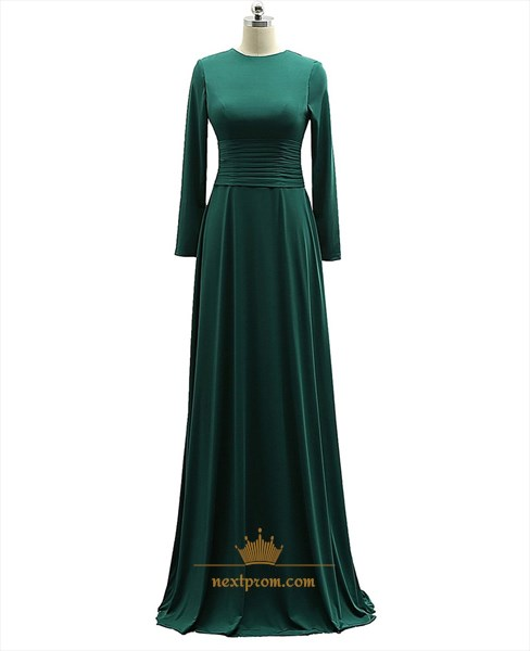 Green Empire Waist Long Sleeve Prom Dress With Ruched Waist