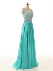 Sleeveless Floor Length Illusion Neckline Prom Dress With Sparkling Waist