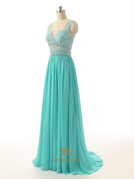 Sleeveless Floor Length Illusion Neckline Prom Dress With Sparkling Waist