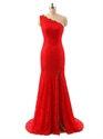 Red One Shoulder Side Slits Mermaid Lace Prom Dress With Train