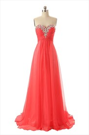 Empire Waist Strapless Sweetheart Neckline Pleated Chiffon Dress