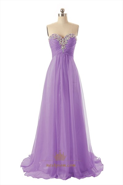 Empire Waist Strapless Sweetheart Neckline Pleated Chiffon Dress