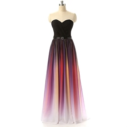 Gradient Strapless Floor Length Sweetheart Neckline Chiffon Prom Dress