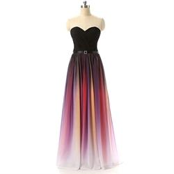 Gradient Strapless Floor Length Sweetheart Neckline Chiffon Prom Dress