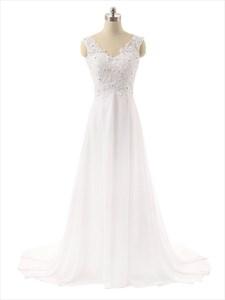 Long Strapless V-neck Lace Back Sheer Straps Wedding Dress