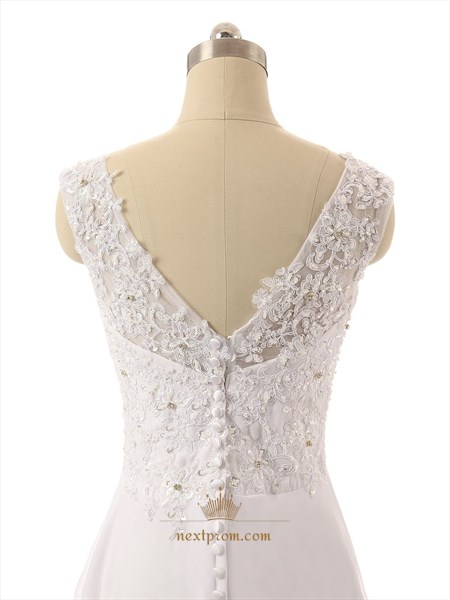 Long Strapless V-neck Lace Back Sheer Straps Wedding Dress