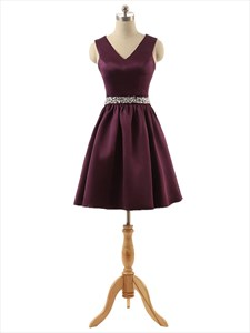 Short Burgundy Satin V-neck Keyhole Back Bridesmaid Dress