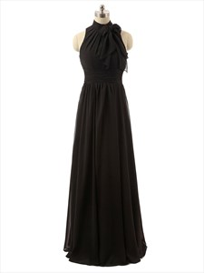 Black Halter Column Sleeveless Pleated Floor-length Chiffon Prom Dress