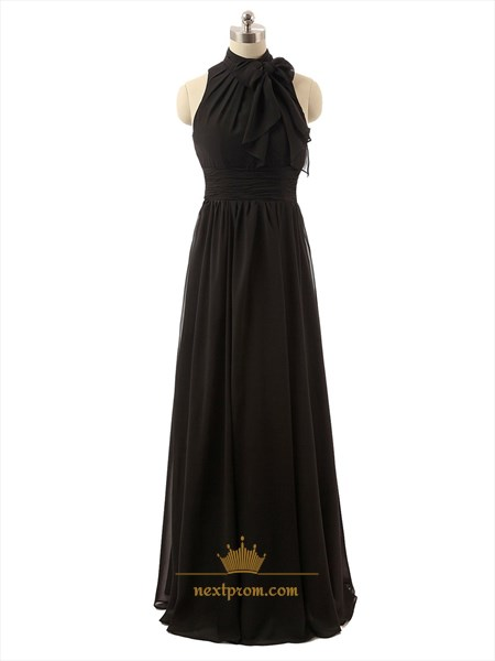 Black Halter Column Sleeveless Pleated Floor-length Chiffon Prom Dress