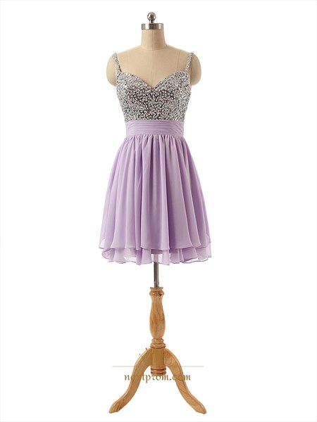 Purple Chiffon Short Beaded Bodice Homecoming Dresses With Straps
