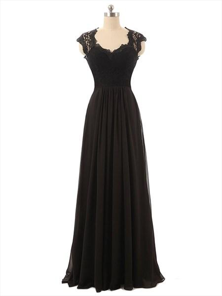 Black Sleeveless Lace Illusion Floor Length Ruffle Dress