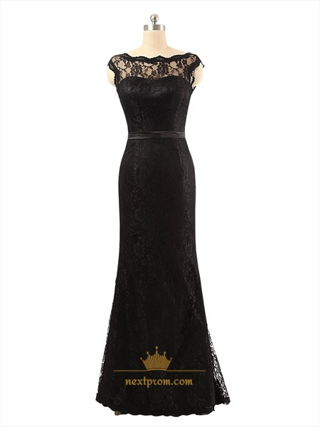 Black Sheer Illusion Neckline Floor Length Dress With Lace Bodice