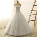 White Strapless Lace Bodice Tulle Wedding Dress With Lace Up Back