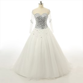 Rhinestone Bodice Jeweled Corset Lace Wedding Dress With Keyhole Back