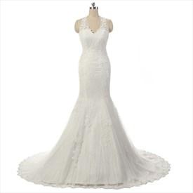 Elegant Sleeveless Lace Halter Court Wedding Dress