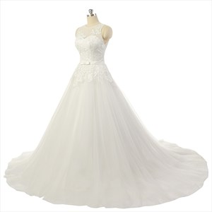 Applique Lace Embellishment Sweatheart Court Train Wedding Dress