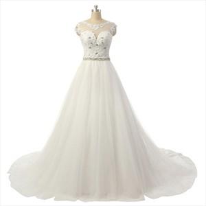 Princess Bateau Sleeveless Beading Court Train Tulle Wedding Dresses