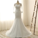 Ivory Mermaid Lace V-neck Wedding Dress With Sheer Sleeves