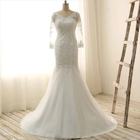 Ivory Mermaid Lace V-neck Wedding Dress With Sheer Sleeves