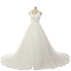 Ivory Lace Bodice Sheer Neckline V Back Court Train Wedding Dress