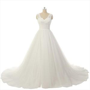 Ivory Lace Bodice Sheer Neckline V Back Court Train Wedding Dress