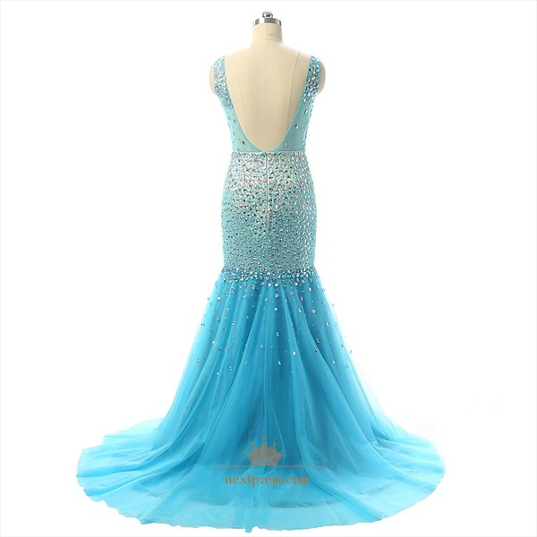Auqa Blue Sleeveless Beaded Bodice Mermaid Tulle Prom Dress
