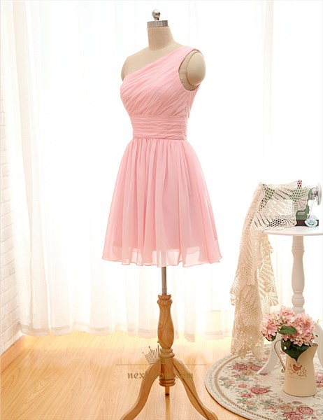 Pink One Shoulder Corset Lace Knee Length Bridesmaid Dress