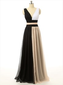 V-neck Contrasting Color Sweep Train Sleeveless Tulle Dress