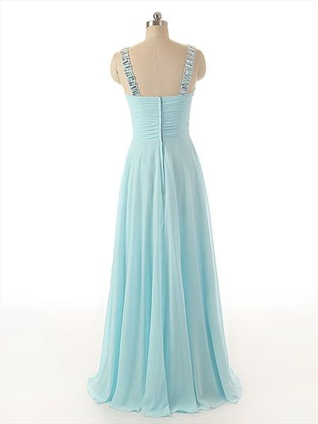 Sky Blue V Neck Sweep Train Chiffon Rhinestone Prom Dress