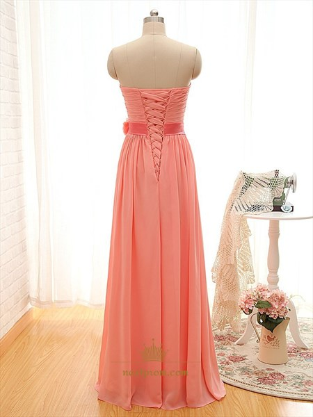 Coral Chiffon Ruched Bodice Dress With Sweetheart Neckline