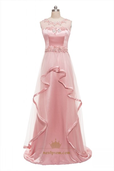Pink Sleeveless Floral Embroidered Sheer Illusion Wedding Dress