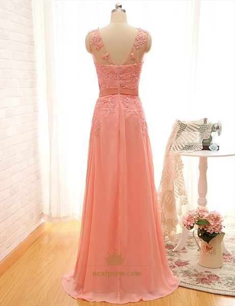 Coral Sweep Brush Train Chiffon Dress With Sheer Strap