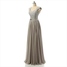 Elegant Floor Length Sleeveless Chiffon Empire Waist Dress