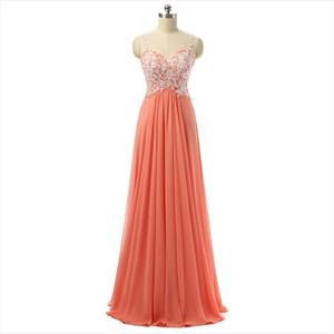 Embroidered Bodice Chiffon Spaghetti Strap Sweetheart Long Prom Dress