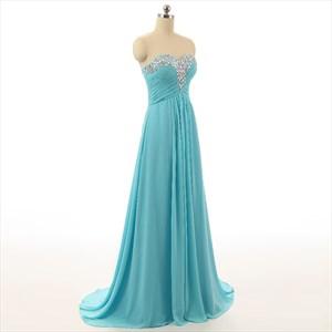 Baby Blue Sweetheart Court Train A Line Chiffon Prom Dresses