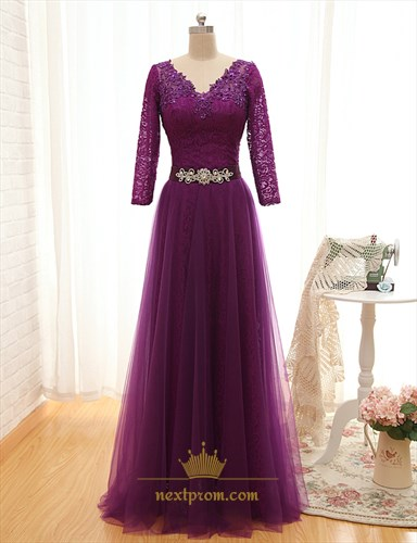 Purple Floor Length V Neck Tulle Dress With Lace Sleeves