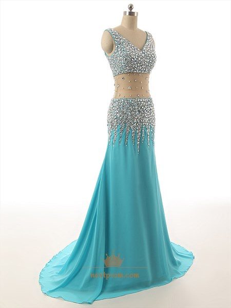 Aqua Blue Chiffon Sheer Illusion Neckline Beaded Bodice Long Prom Dress