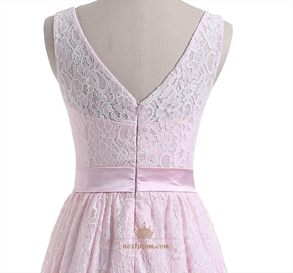 Pink Sleeveless Lace Overlay V Back Short Homecoming Dress With Belt