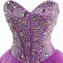 Violet Strapless Sweetheart Organza Beaded Corset Bodice Short Prom Dresses